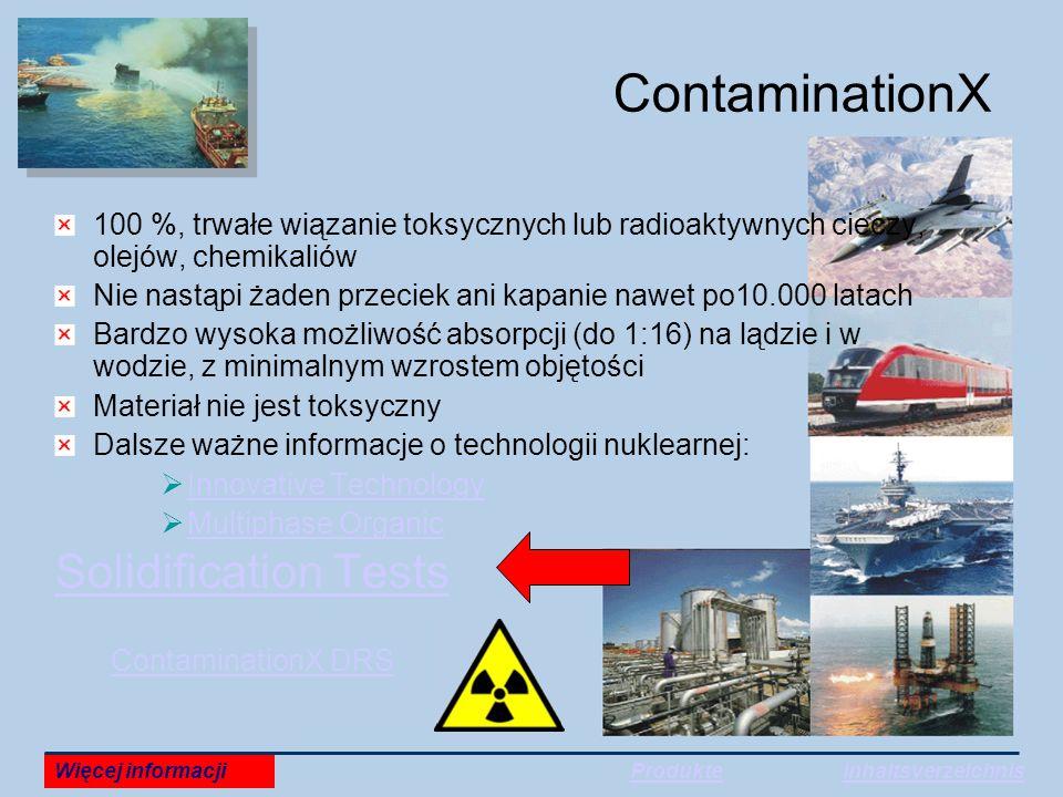 ContaminationX 100 %, trwałe wiązanie toksycznych lub radioaktywnych cieczy, olejów, chemikaliów Nie nastąpi żaden przeciek ani kapanie nawet po10.000 latach Bardzo wysoka możliwość absorpcji (do 1:16) na lądzie i w wodzie, z minimalnym wzrostem objętości Materiał nie jest toksyczny Dalsze ważne informacje o technologii nuklearnej:  Innovative Technology Innovative Technology  Multiphase Organic Multiphase Organic Solidification Tests ContaminationX DRS Więcej informacjiProdukteInhaltsverzeichnis