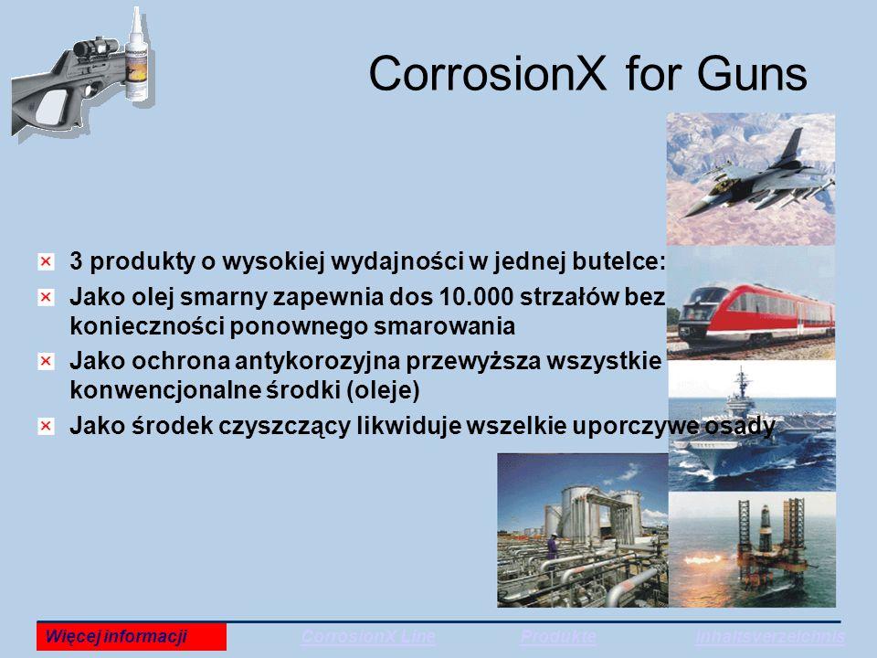 CorrosionX for Guns 3 produkty o wysokiej wydajności w jednej butelce: Jako olej smarny zapewnia dos 10.000 strzałów bez konieczności ponownego smarowania Jako ochrona antykorozyjna przewyższa wszystkie konwencjonalne środki (oleje) Jako środek czyszczący likwiduje wszelkie uporczywe osady Więcej informacjiCorrosionX LineProdukteInhaltsverzeichnis