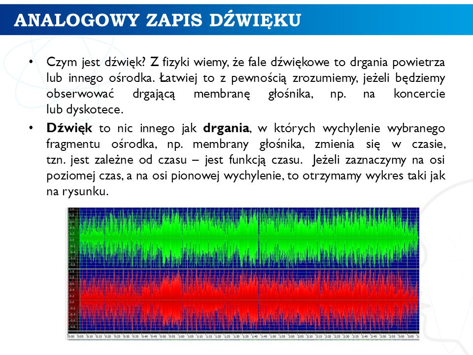 ĆWICZENIE W przypadku dźwięku poddanego kompresji stratnej sama częstotliwość próbkowania nie wystarcza do ok- reślenia jego jakości.