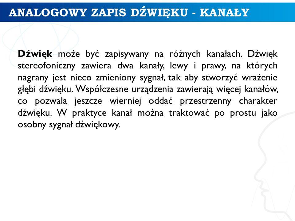 ANALOGOWY ZAPIS DŹWIĘKU - KANAŁY Dźwięk może być zapisywany na różnych kanałach.