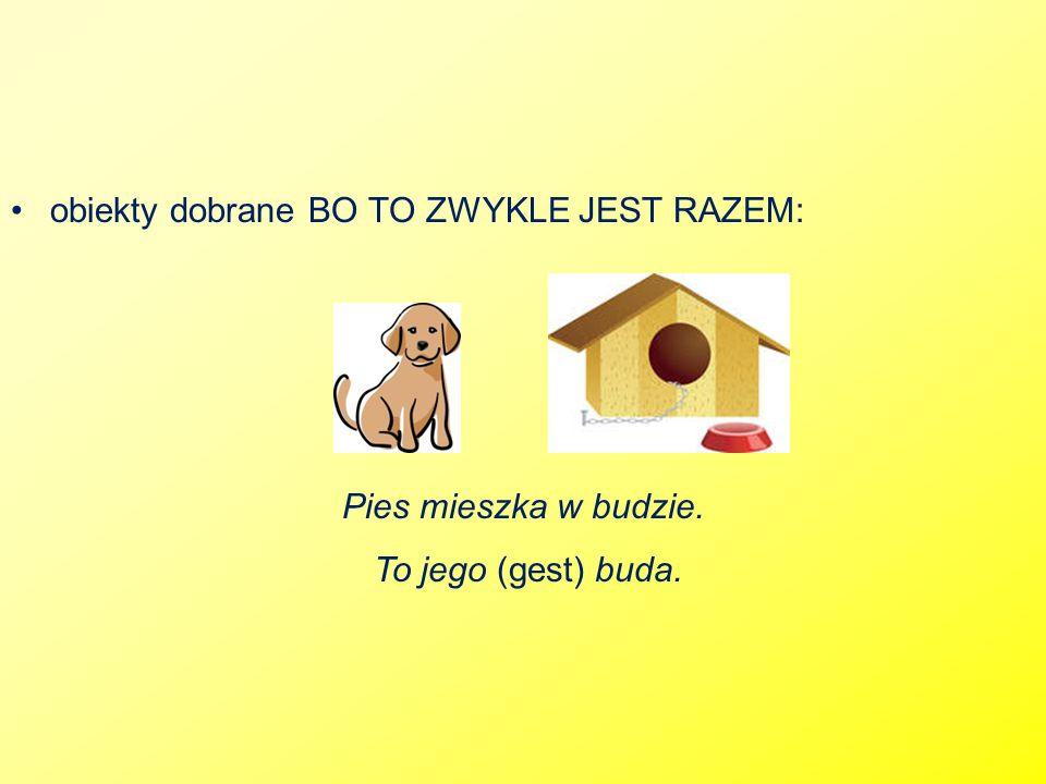 obiekty dobrane BO TO ZWYKLE JEST RAZEM: Pies mieszka w budzie. To jego (gest) buda.