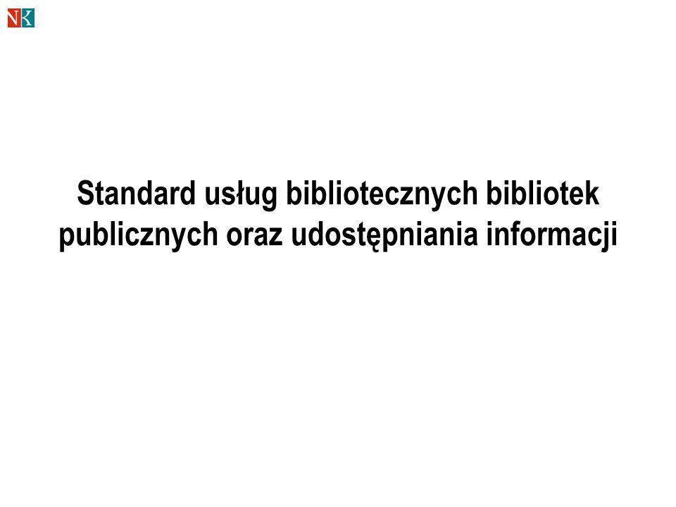 Standard usług bibliotecznych bibliotek publicznych oraz udostępniania informacji