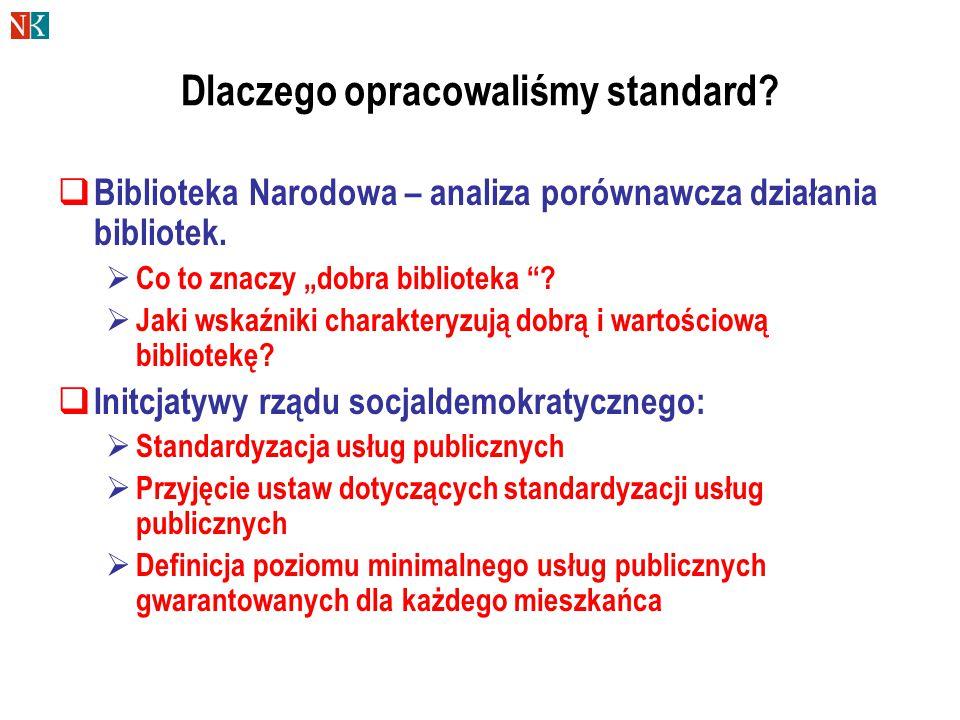 Dlaczego opracowaliśmy standard.  Biblioteka Narodowa – analiza porównawcza działania bibliotek.