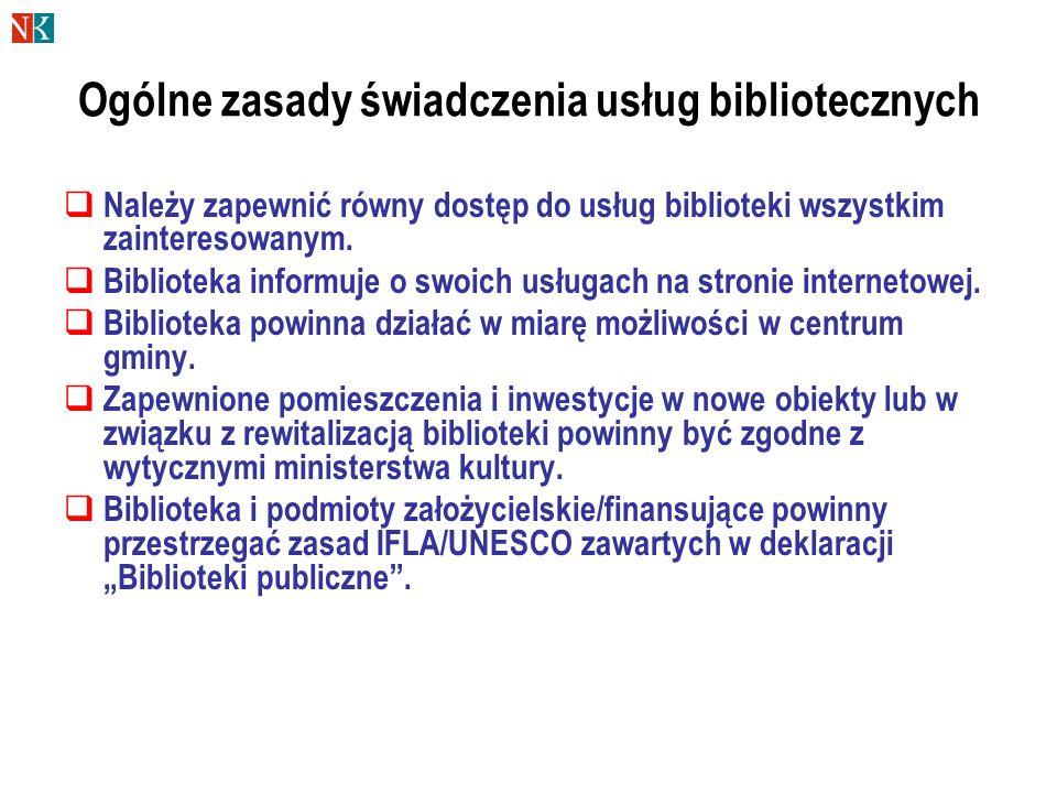 Ogólne zasady świadczenia usług bibliotecznych  Należy zapewnić równy dostęp do usług biblioteki wszystkim zainteresowanym.