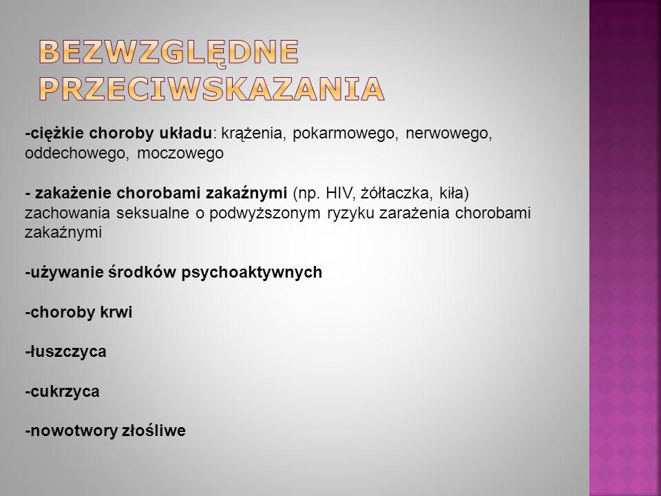 -ciężkie choroby układu: krążenia, pokarmowego, nerwowego, oddechowego, moczowego - zakażenie chorobami zakaźnymi (np.
