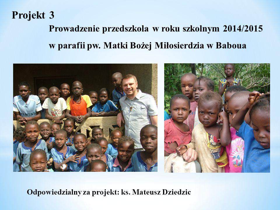Odpowiedzialny za projekt: ks. Mateusz Dziedzic Projekt 3 Prowadzenie przedszkola w roku szkolnym 2014/2015 w parafii pw. Matki Bożej Miłosierdzia w B