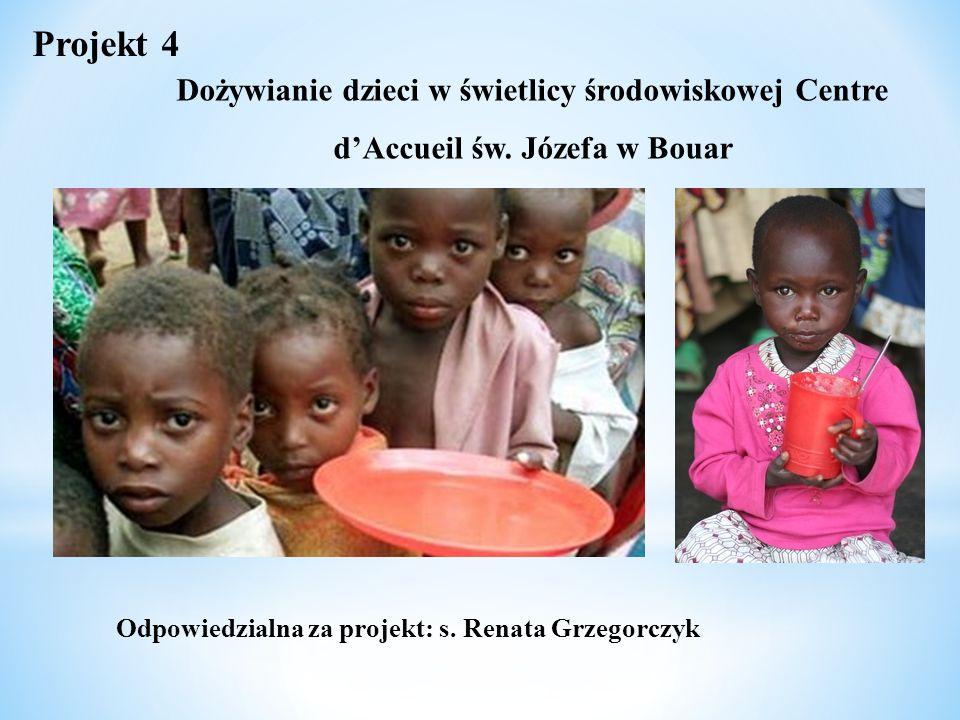 Dożywianie dzieci w świetlicy środowiskowej Centre d'Accueil św. Józefa w Bouar Projekt 4 Odpowiedzialna za projekt: s. Renata Grzegorczyk