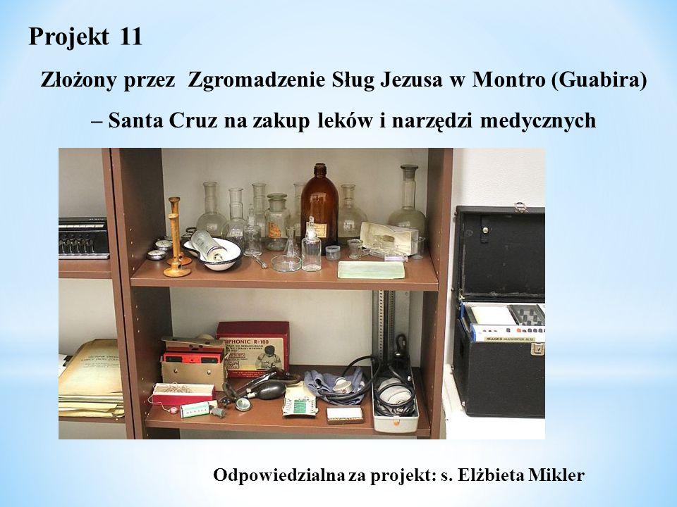 Złożony przez Zgromadzenie Sług Jezusa w Montro (Guabira) – Santa Cruz na zakup leków i narzędzi medycznych Projekt 11 Odpowiedzialna za projekt: s. E