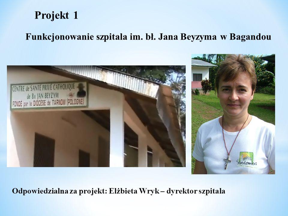 Projekt 1 Funkcjonowanie szpitala im. bł. Jana Beyzyma w Bagandou Odpowiedzialna za projekt: Elżbieta Wryk – dyrektor szpitala