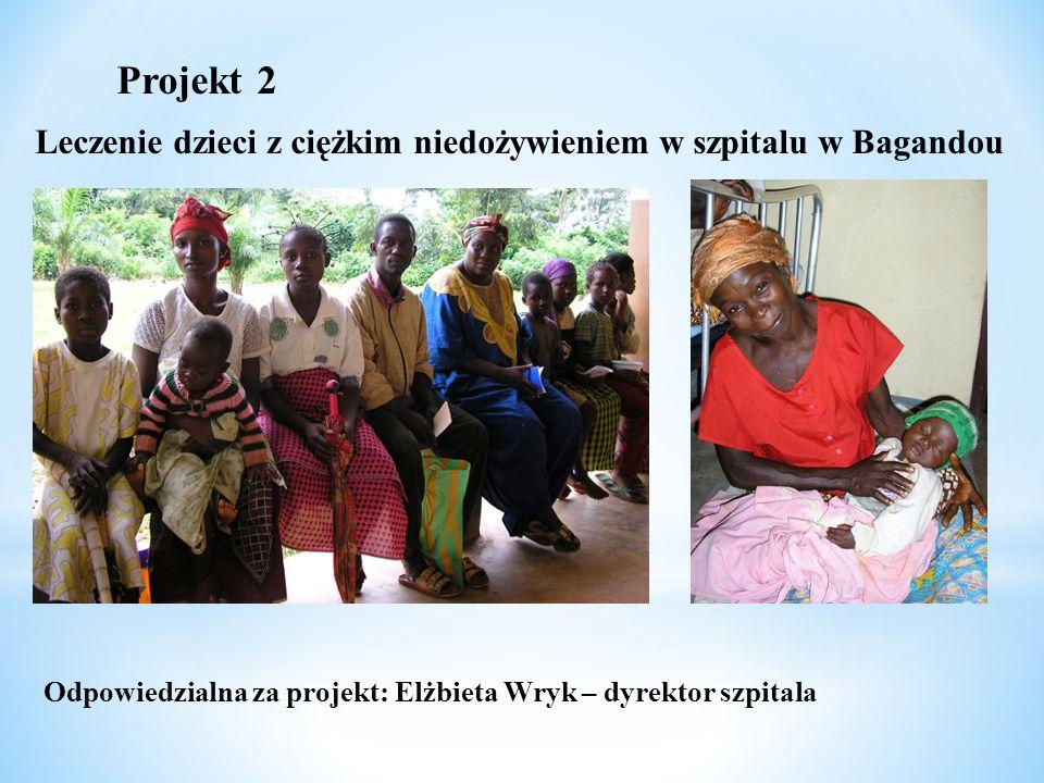 Projekt 2 Leczenie dzieci z ciężkim niedożywieniem w szpitalu w Bagandou Odpowiedzialna za projekt: Elżbieta Wryk – dyrektor szpitala