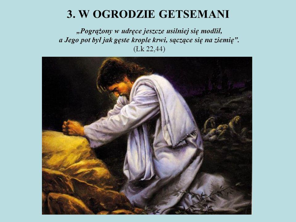 """3. W OGRODZIE GETSEMANI """"Pogrążony w udręce jeszcze usilniej się modlił, a Jego pot był jak gęste krople krwi, sączące się na ziemię"""". (Łk 22,44)"""