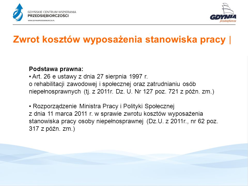 Zwrot kosztów szkolenia pracownika | Zwrot kosztów szkolenia pracownika niepełnosprawnego stanowi pomoc publiczną udzielaną zgodnie z: Rozdziałem I, sekcją 8 w rozdziale II oraz rozdziałem III rozporządzenia Komisji (WE) nr 800/2008 z dnia 6 sierpnia 2008 r.