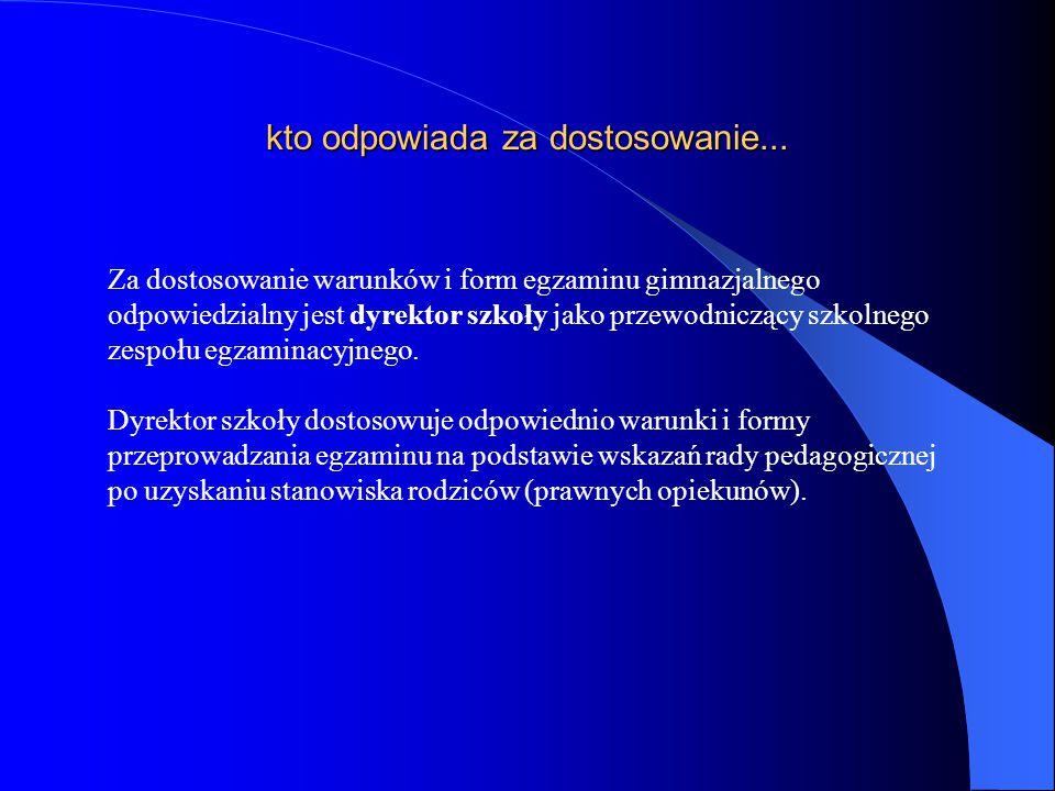 dostosowanie warunków egzaminu gimnazjalnego - szczegółowa informacja Pełny tekst Komunikatu Dyrektora Centralnej Komisji Egzaminacyjnej z dnia 29 sierpnia 2014 r.