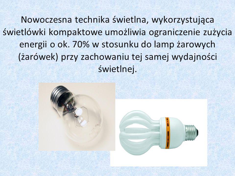 Nowoczesna technika świetlna, wykorzystująca świetlówki kompaktowe umożliwia ograniczenie zużycia energii o ok.