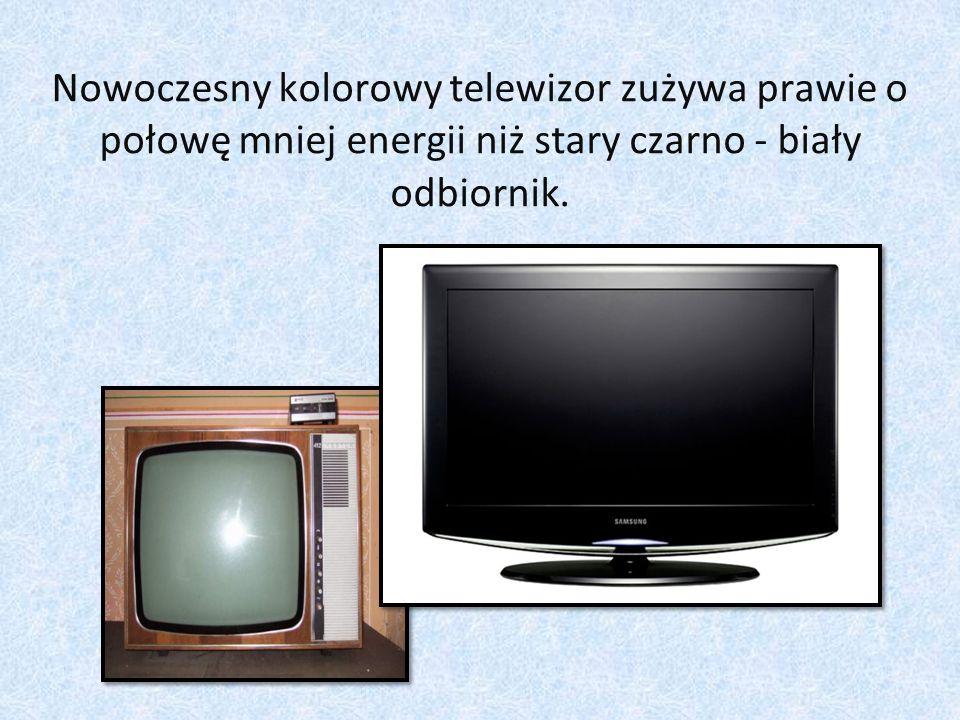 Nowoczesny kolorowy telewizor zużywa prawie o połowę mniej energii niż stary czarno - biały odbiornik.