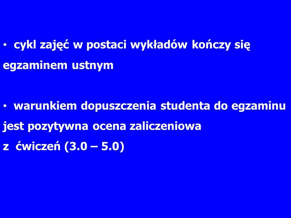 cykl zajęć w postaci wykładów kończy się egzaminem ustnym warunkiem dopuszczenia studenta do egzaminu jest pozytywna ocena zaliczeniowa z ćwiczeń (3.0