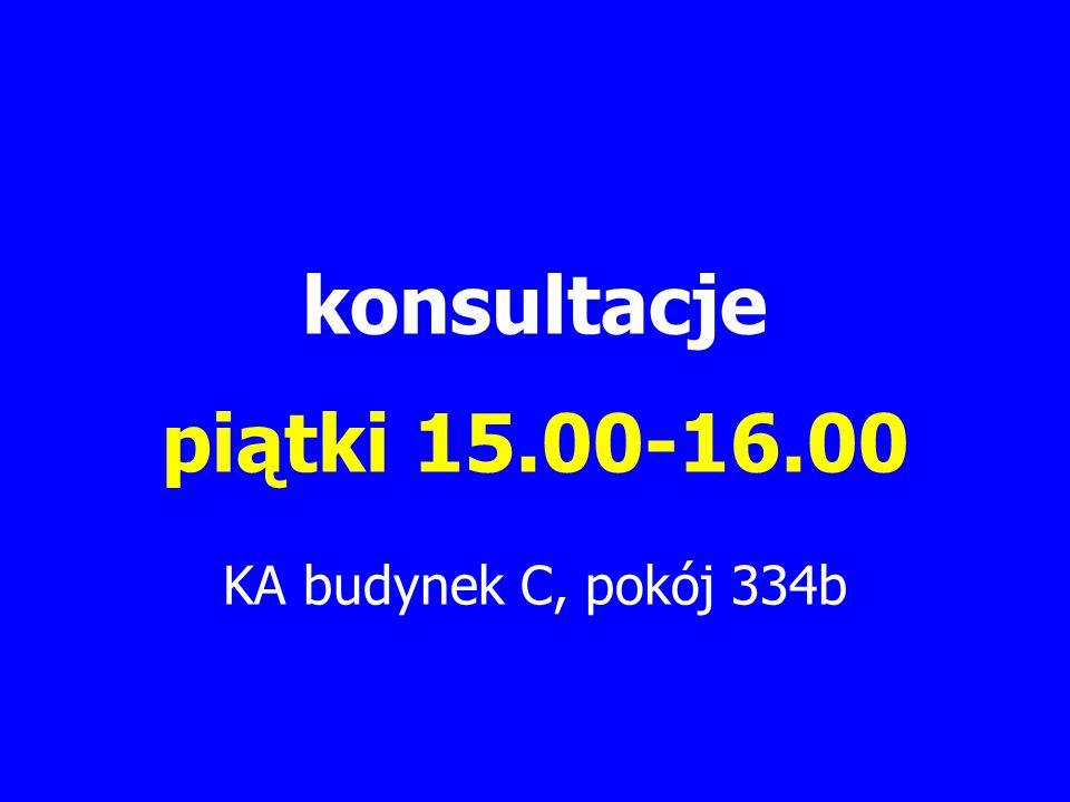 konsultacje piątki 15.00-16.00 KA budynek C, pokój 334b