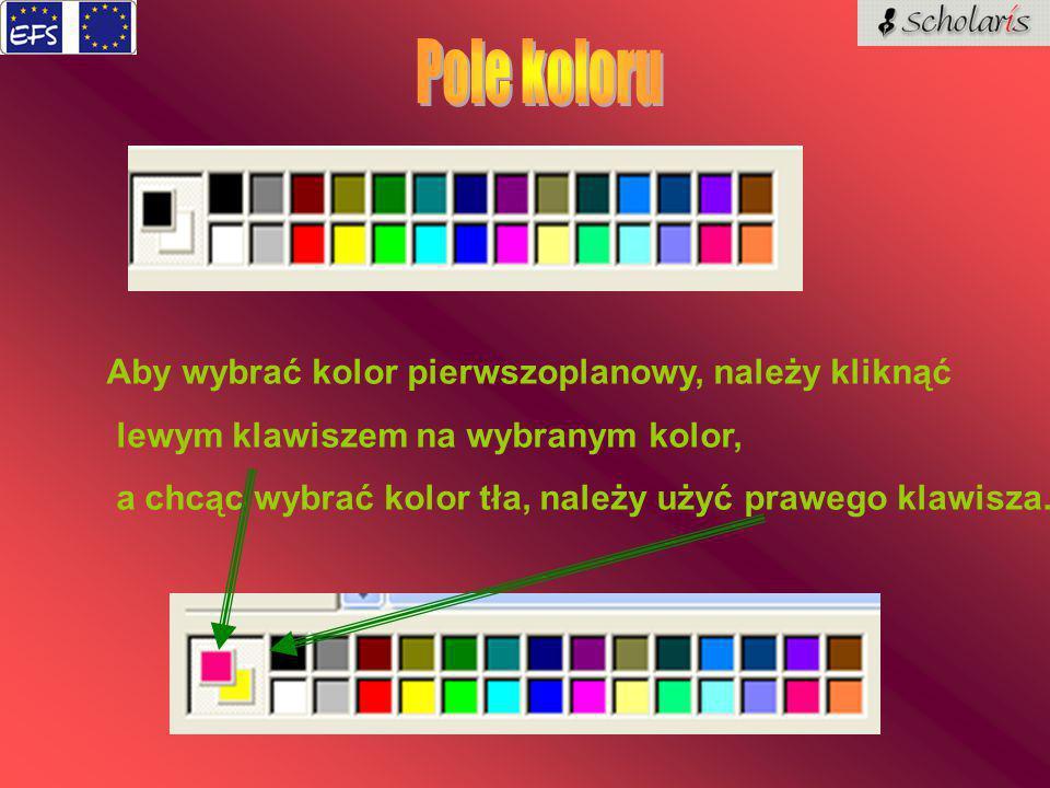 Aby wybrać kolor pierwszoplanowy, należy kliknąć lewym klawiszem na wybranym kolor, a chcąc wybrać kolor tła, należy użyć prawego klawisza.