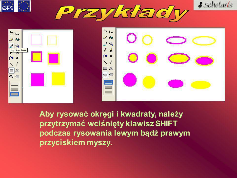 Aby rysować okręgi i kwadraty, należy przytrzymać wciśnięty klawisz SHIFT podczas rysowania lewym bądź prawym przyciskiem myszy.