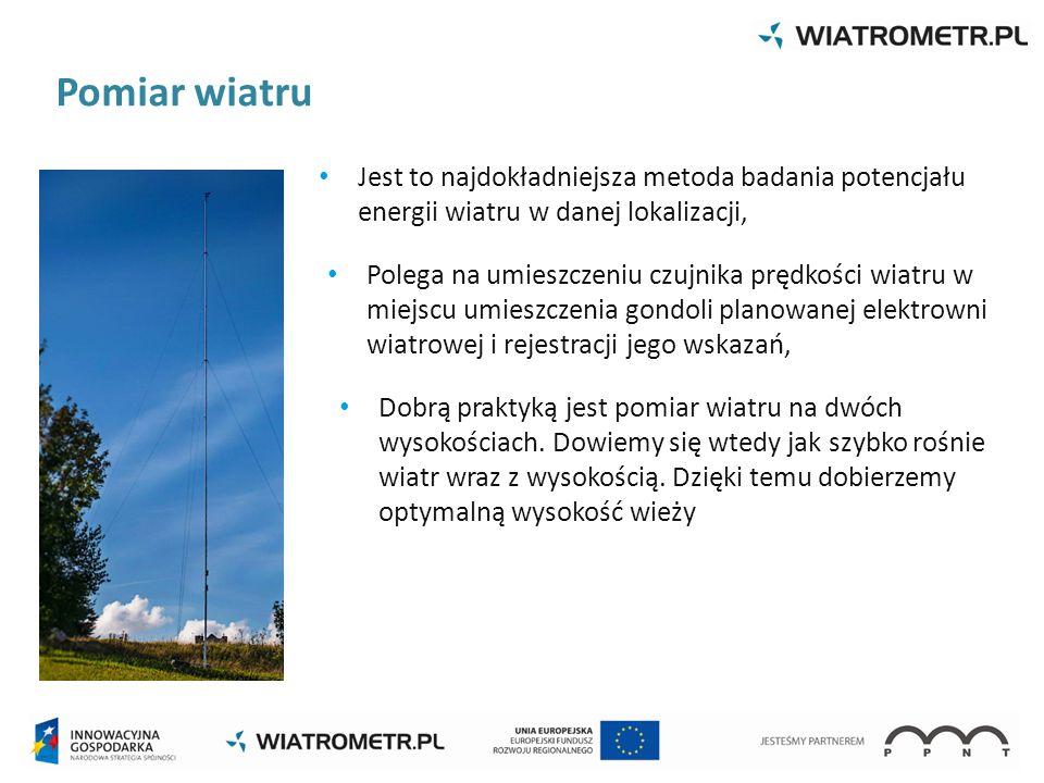Polega na umieszczeniu czujnika prędkości wiatru w miejscu umieszczenia gondoli planowanej elektrowni wiatrowej i rejestracji jego wskazań, Jest to na