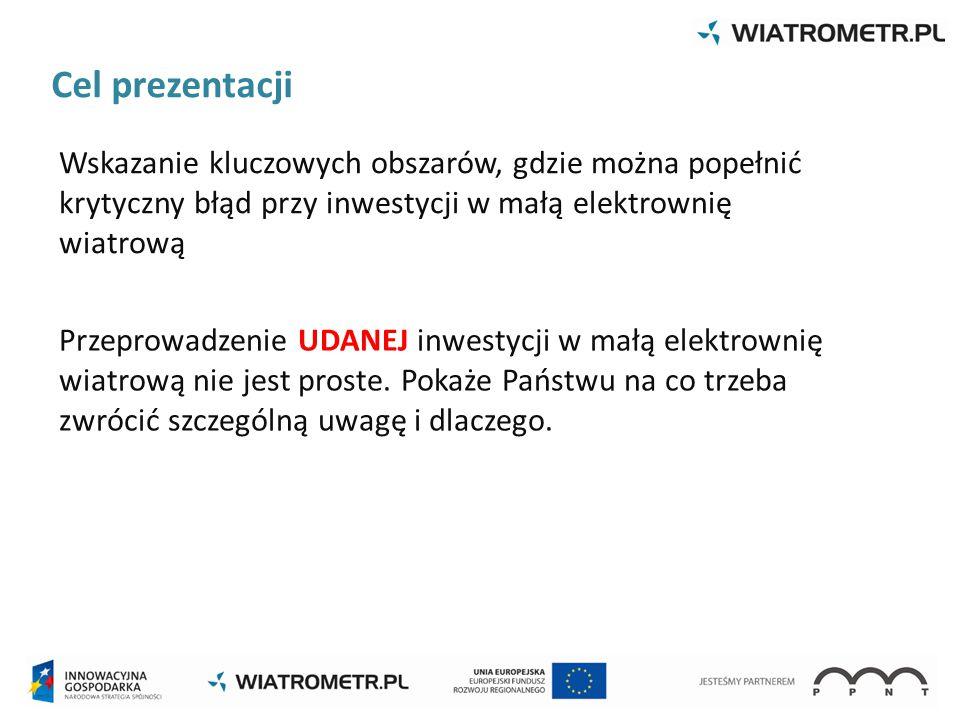 Cel prezentacji Wskazanie kluczowych obszarów, gdzie można popełnić krytyczny błąd przy inwestycji w małą elektrownię wiatrową Przeprowadzenie UDANEJ