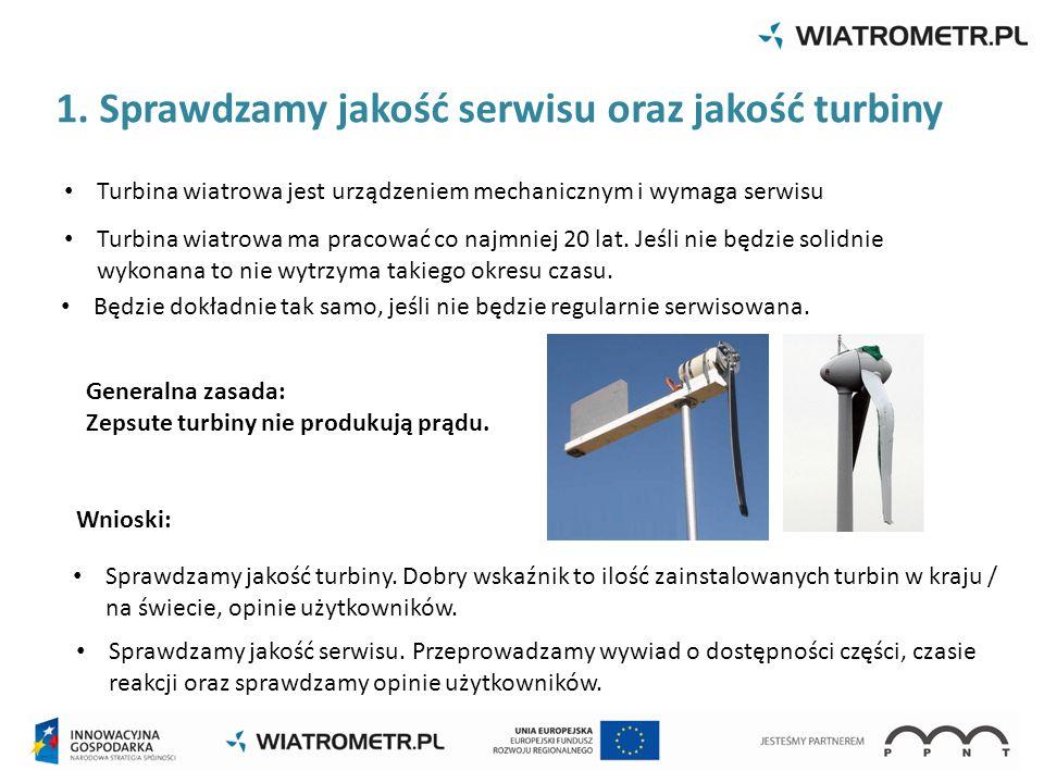 1. Sprawdzamy jakość serwisu oraz jakość turbiny Generalna zasada: Zepsute turbiny nie produkują prądu. Wnioski: Sprawdzamy jakość turbiny. Dobry wska