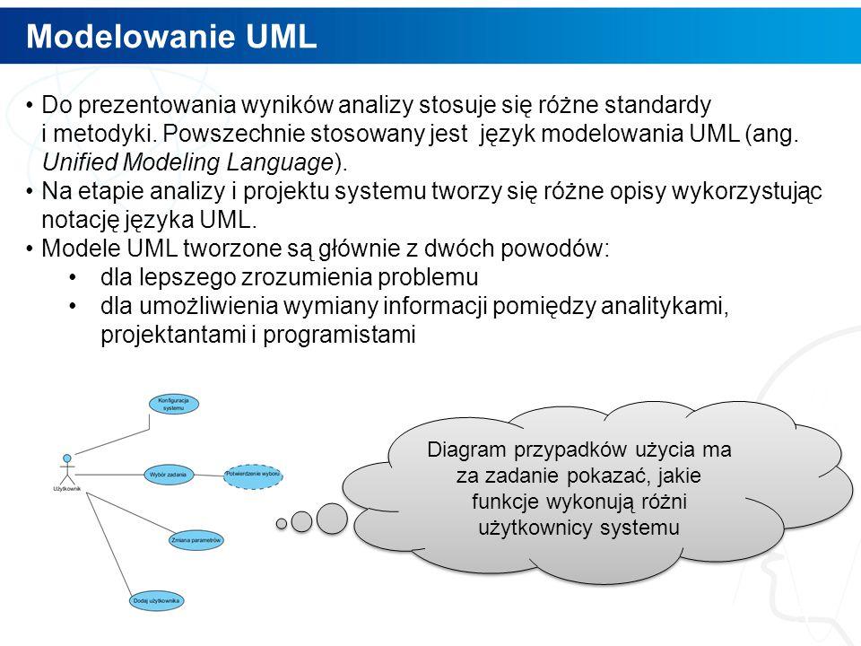 Modelowanie UML 5 Do prezentowania wyników analizy stosuje się różne standardy i metodyki.
