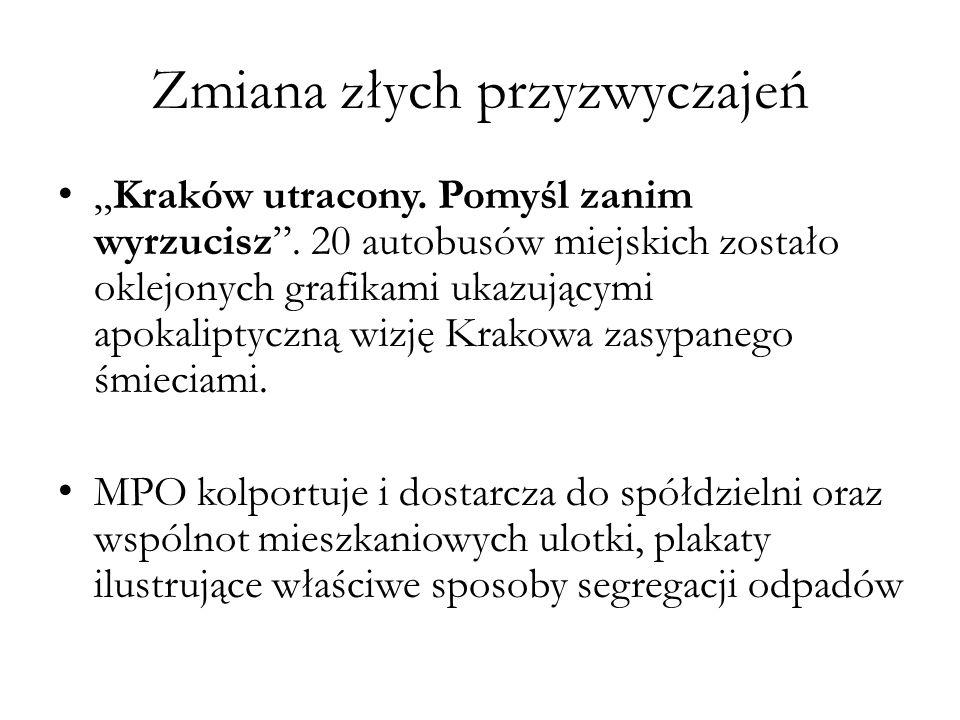 """Zmiana złych przyzwyczajeń """"Kraków utracony.Pomyśl zanim wyrzucisz ."""