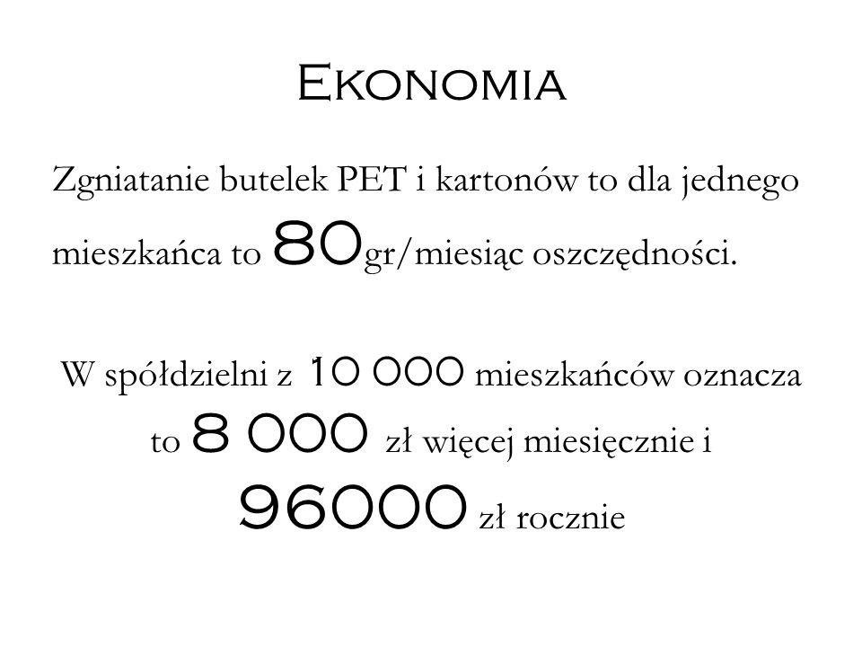 Ekonomia Zgniatanie butelek PET i kartonów to dla jednego mieszkańca to 80 gr/miesiąc oszczędności.