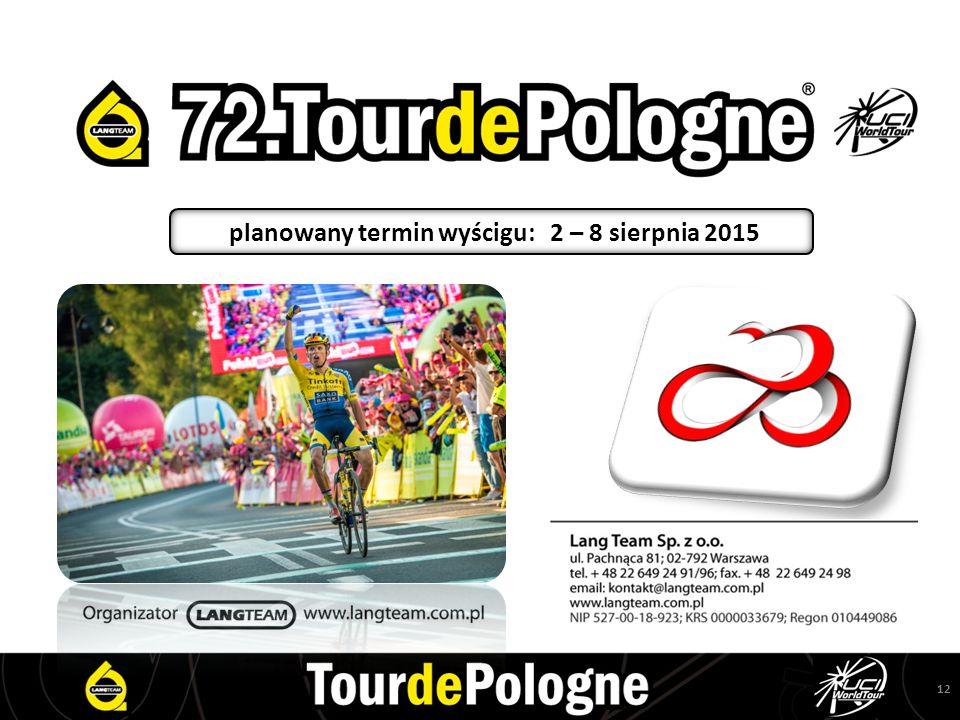 12 planowany termin wyścigu: 2 – 8 sierpnia 2015