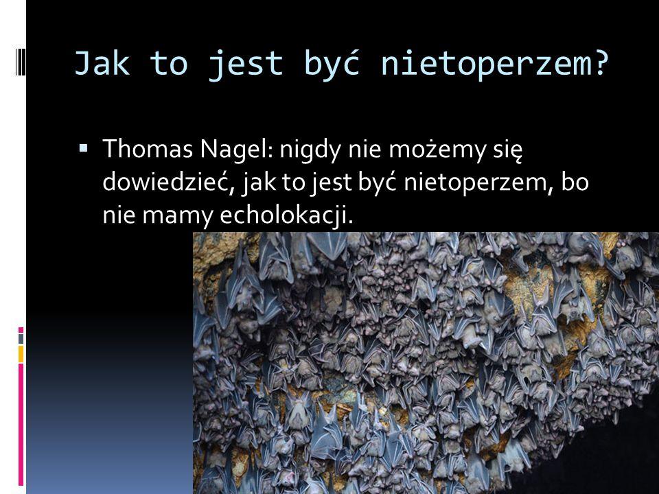 Jak to jest być nietoperzem?  Thomas Nagel: nigdy nie możemy się dowiedzieć, jak to jest być nietoperzem, bo nie mamy echolokacji.