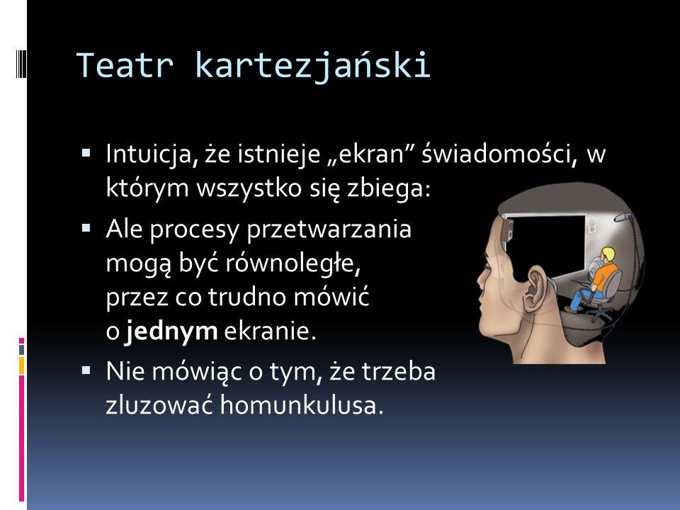 """Teatr kartezjański  Intuicja, że istnieje """"ekran"""" świadomości, w którym wszystko się zbiega:  Ale procesy przetwarzania mogą być równoległe, przez c"""