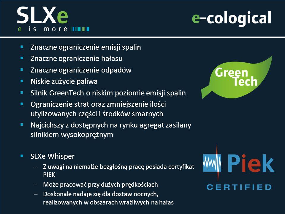  Znaczne ograniczenie emisji spalin  Znaczne ograniczenie hałasu  Znaczne ograniczenie odpadów  Niskie zużycie paliwa  Silnik GreenTech o niskim