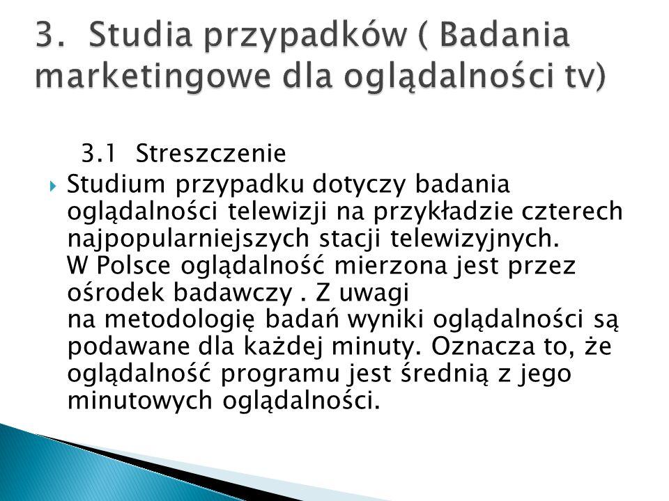 3.1 Streszczenie  Studium przypadku dotyczy badania oglądalności telewizji na przykładzie czterech najpopularniejszych stacji telewizyjnych. W Polsce