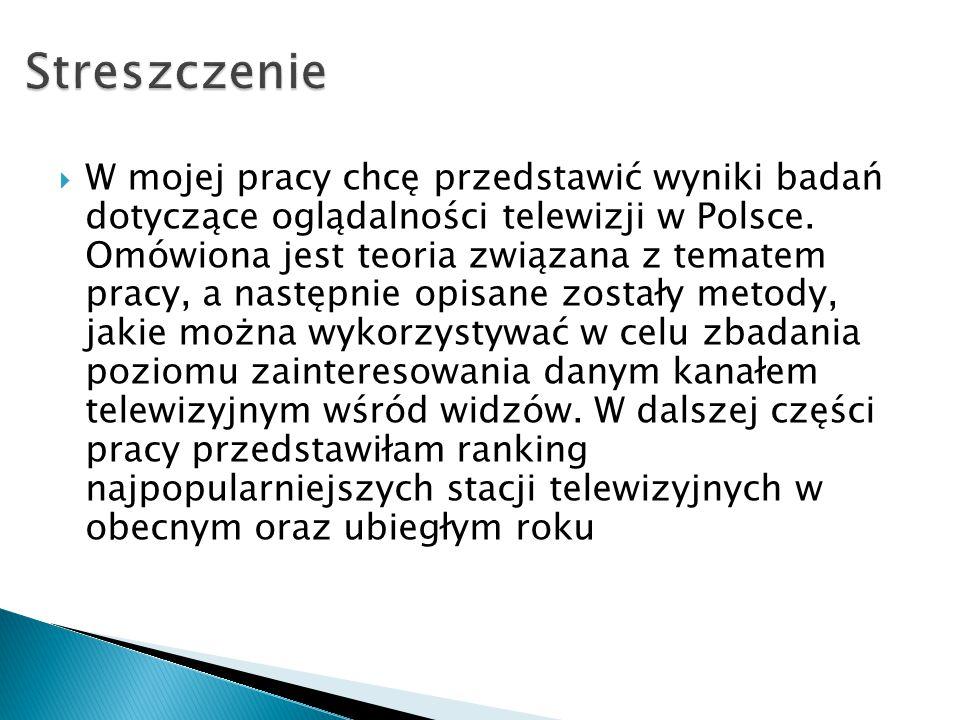  W mojej pracy chcę przedstawić wyniki badań dotyczące oglądalności telewizji w Polsce. Omówiona jest teoria związana z tematem pracy, a następnie op