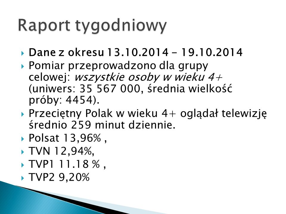  Dane z okresu 13.10.2014 - 19.10.2014  Pomiar przeprowadzono dla grupy celowej: wszystkie osoby w wieku 4+ (uniwers: 35 567 000, średnia wielkość p