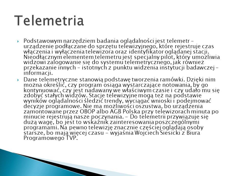  Podstawowym narzędziem badania oglądalności jest telemetr – urządzenie podłączane do sprzętu telewizyjnego, które rejestruje czas włączenia i wyłącz