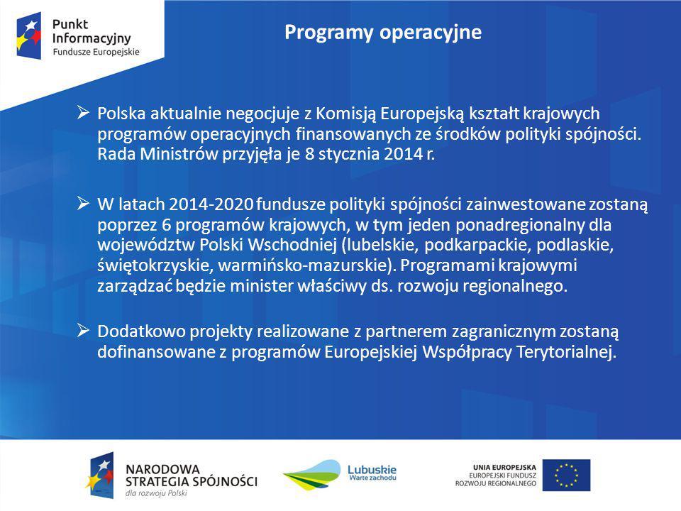 Programy operacyjne  Polska aktualnie negocjuje z Komisją Europejską kształt krajowych programów operacyjnych finansowanych ze środków polityki spójn