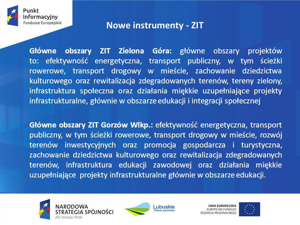 Główne obszary ZIT Zielona Góra: główne obszary projektów to: efektywność energetyczna, transport publiczny, w tym ścieżki rowerowe, transport drogowy