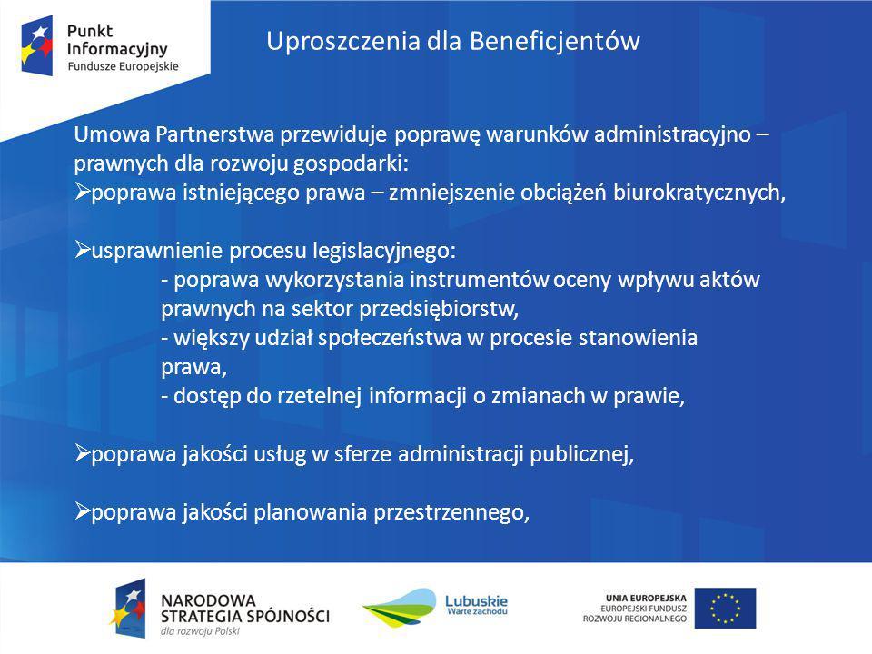 Uproszczenia dla Beneficjentów Umowa Partnerstwa przewiduje poprawę warunków administracyjno – prawnych dla rozwoju gospodarki:  poprawa istniejącego