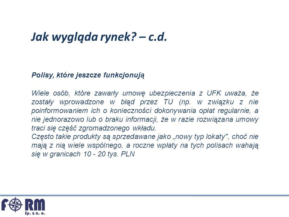 Jak wygląda rynek? – c.d. Wiele osób, które zawarły umowę ubezpieczenia z UFK uważa, że zostały wprowadzone w błąd przez TU (np. w związku z nie poinf