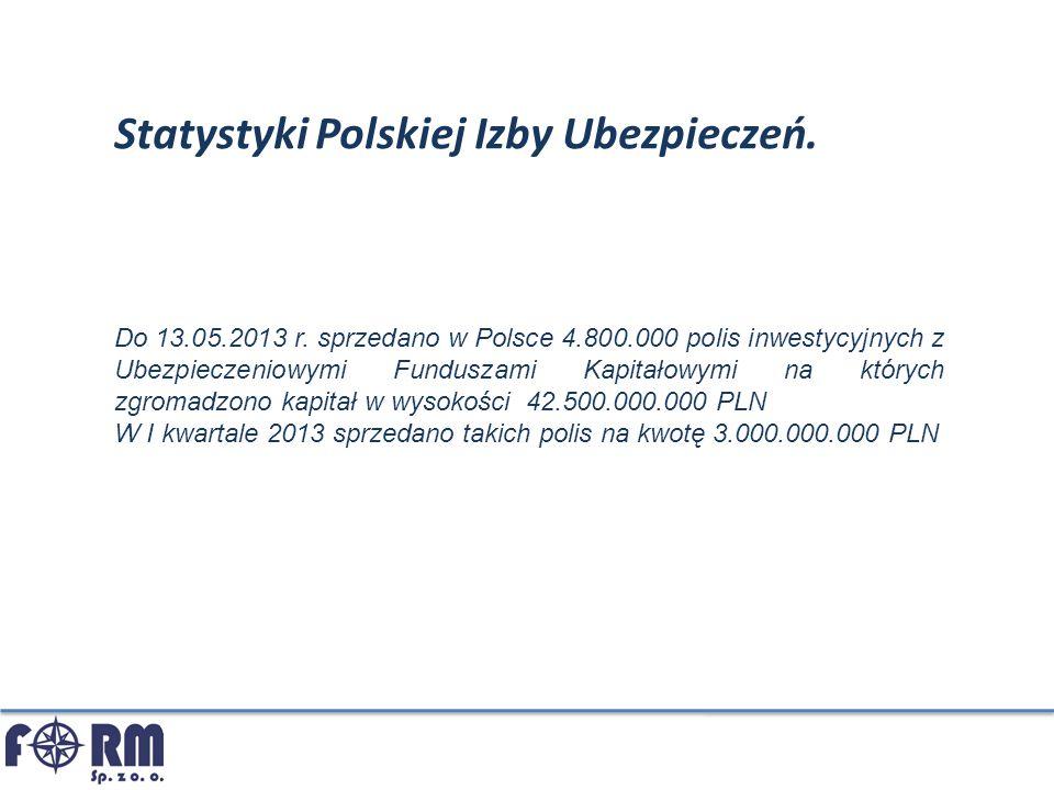Statystyki Polskiej Izby Ubezpieczeń. Do 13.05.2013 r. sprzedano w Polsce 4.800.000 polis inwestycyjnych z Ubezpieczeniowymi Funduszami Kapitałowymi n