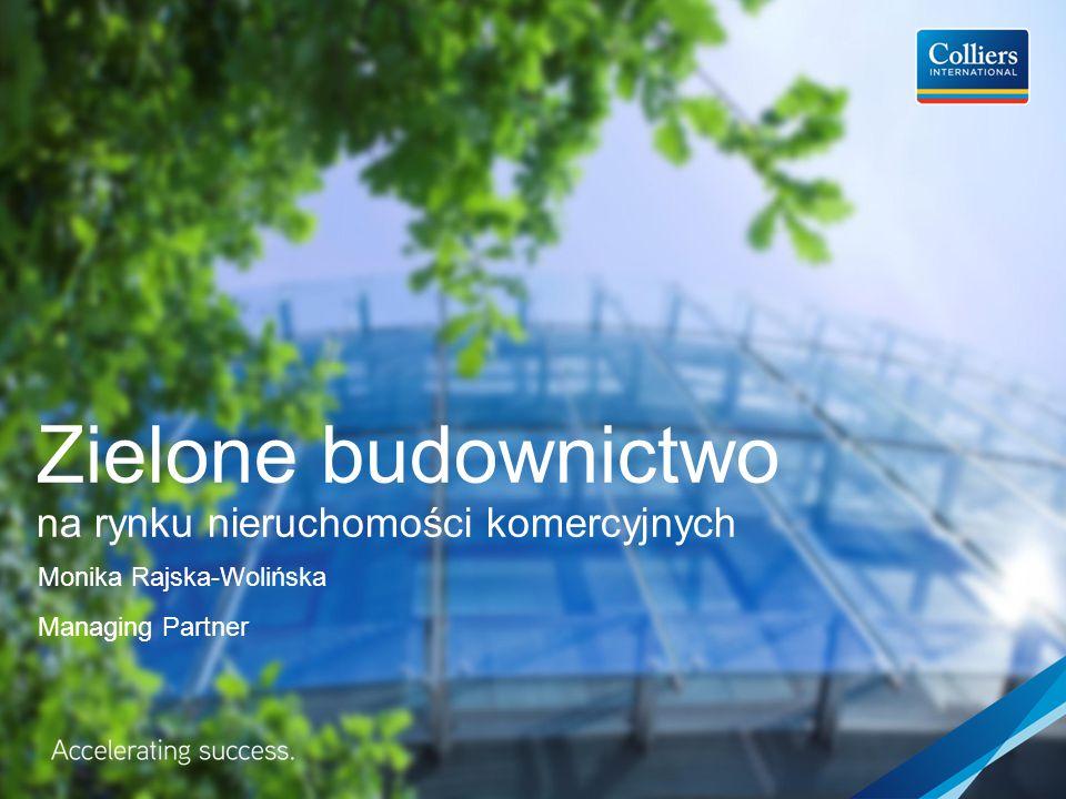 Zielone budownictwo na rynku nieruchomości komercyjnych Monika Rajska-Wolińska Managing Partner