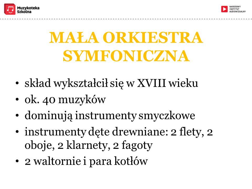MAŁA ORKIESTRA SYMFONICZNA skład wykształcił się w XVIII wieku ok. 40 muzyków dominują instrumenty smyczkowe instrumenty dęte drewniane: 2 flety, 2 ob