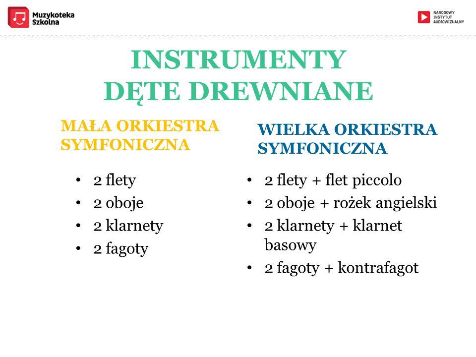 INSTRUMENTY DĘTE DREWNIANE MAŁA ORKIESTRA SYMFONICZNA 2 flety 2 oboje 2 klarnety 2 fagoty WIELKA ORKIESTRA SYMFONICZNA 2 flety + flet piccolo 2 oboje + rożek angielski 2 klarnety + klarnet basowy 2 fagoty + kontrafagot