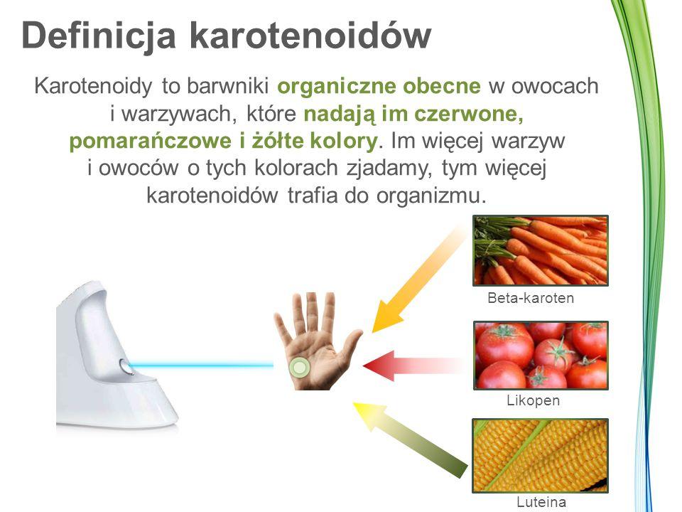 Definicja karotenoidów Karotenoidy to barwniki organiczne obecne w owocach i warzywach, które nadają im czerwone, pomarańczowe i żółte kolory. Im więc