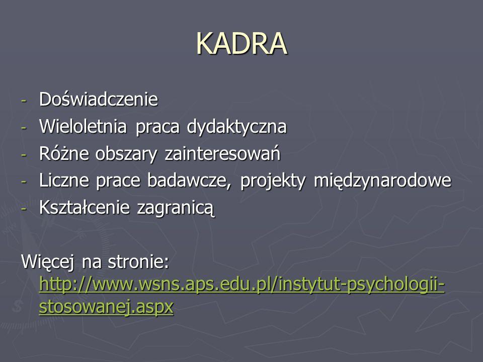 KADRA - Doświadczenie - Wieloletnia praca dydaktyczna - Różne obszary zainteresowań - Liczne prace badawcze, projekty międzynarodowe - Kształcenie zagranicą Więcej na stronie: http://www.wsns.aps.edu.pl/instytut-psychologii- stosowanej.aspx http://www.wsns.aps.edu.pl/instytut-psychologii- stosowanej.aspx http://www.wsns.aps.edu.pl/instytut-psychologii- stosowanej.aspx