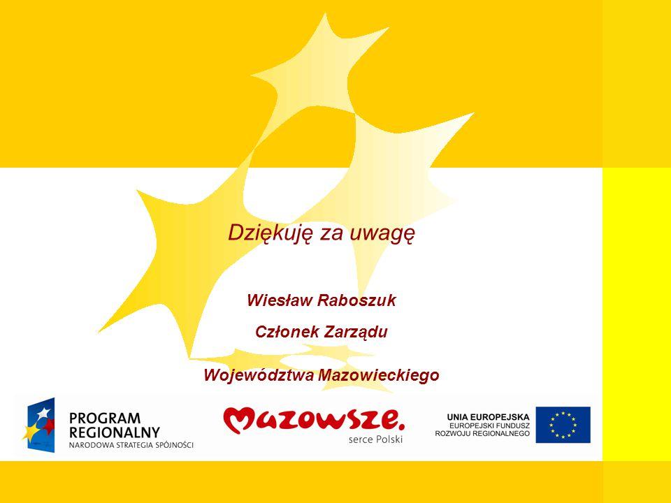 19 Mazowiecka Jednostka Wdrażania Programów Unijnych Dziękuję za uwagę Wiesław Raboszuk Członek Zarządu Województwa Mazowieckiego