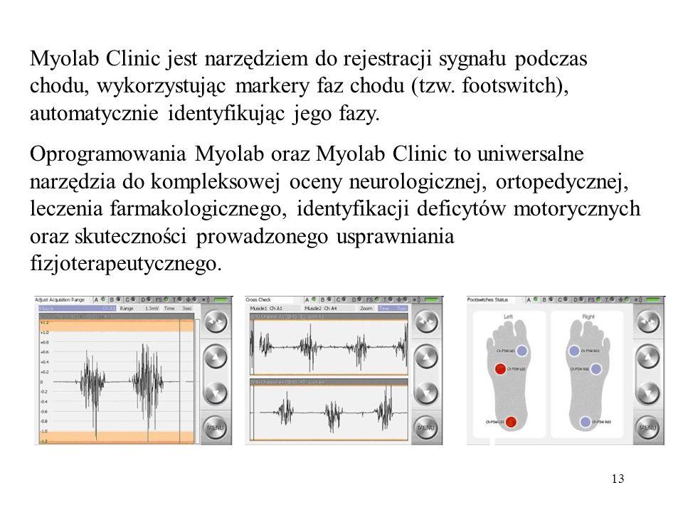 13 Myolab Clinic jest narzędziem do rejestracji sygnału podczas chodu, wykorzystując markery faz chodu (tzw. footswitch), automatycznie identyfikując