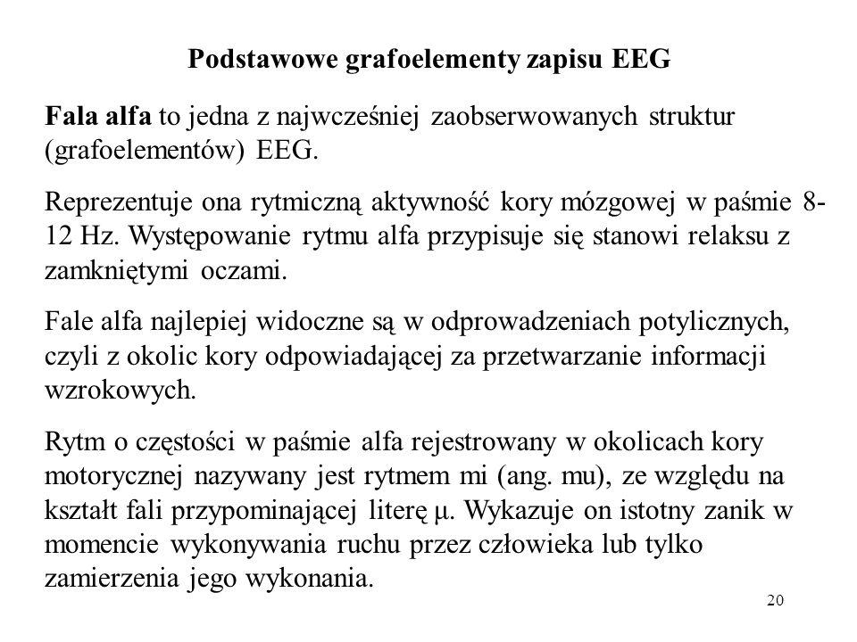20 Fala alfa to jedna z najwcześniej zaobserwowanych struktur (grafoelementów) EEG. Reprezentuje ona rytmiczną aktywność kory mózgowej w paśmie 8- 12